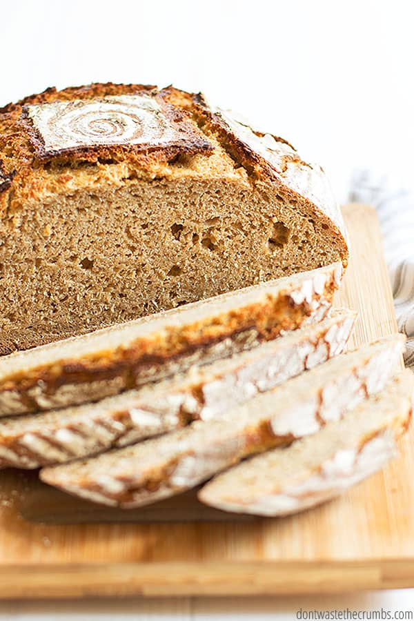 This simple recipe for whole wheat einkorn sourdough bread calls for 5 ingredients: sourdough starter, water, honey, salt, and healthy whole grain einkorn flour.