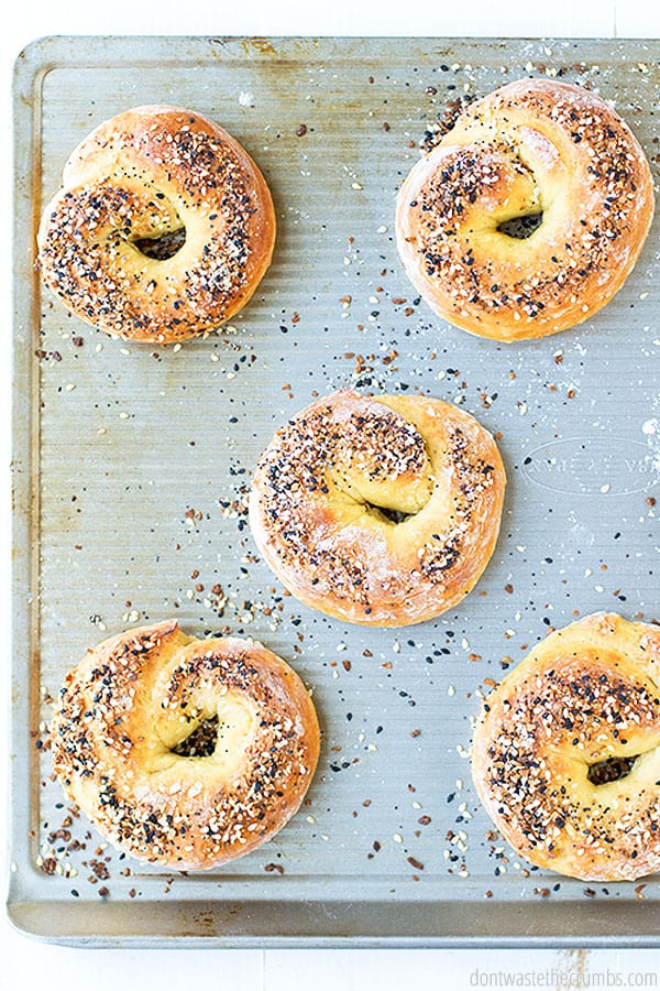 This recipe for bagels is so simple, and uses just 2 ingredients! You can customize the flavors too, so if you want cinnamon bagels, you can just add cinnamon, and if you like a certain seasoning, you can add it to the top before baking.