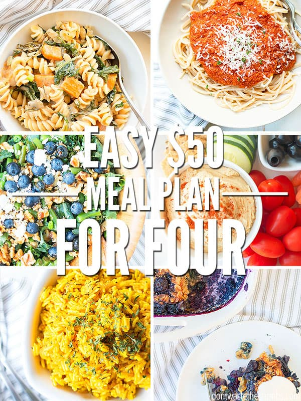Looking to save money or have a tight budget? Try this one week $50 Meal Plan for a family of 4!
