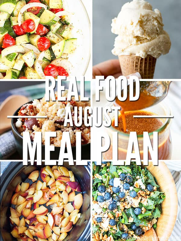 This easy meal plan for August is what you need for your back to school routine! Quick, tasty, and budget friendly meals the whole family will love! Plus enjoy treats like homemade vanilla bean ice cream and slow cooker peach cobbler.