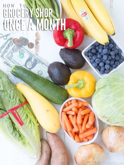 On a budget? Learn how to grocery shop once a month with this helpful guide! I share tips and tricks that will save you money while shopping and planning. :: DontWastetheCrumbs.com