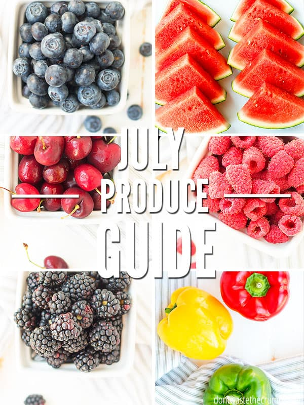 Use this July Seasonal Produce Guide to help you save on groceries! Eat good food and save money with this in season vegetable list. Find health benefits and recipes for seasonal fruits and vegetables like blueberry pie and tomato soup!