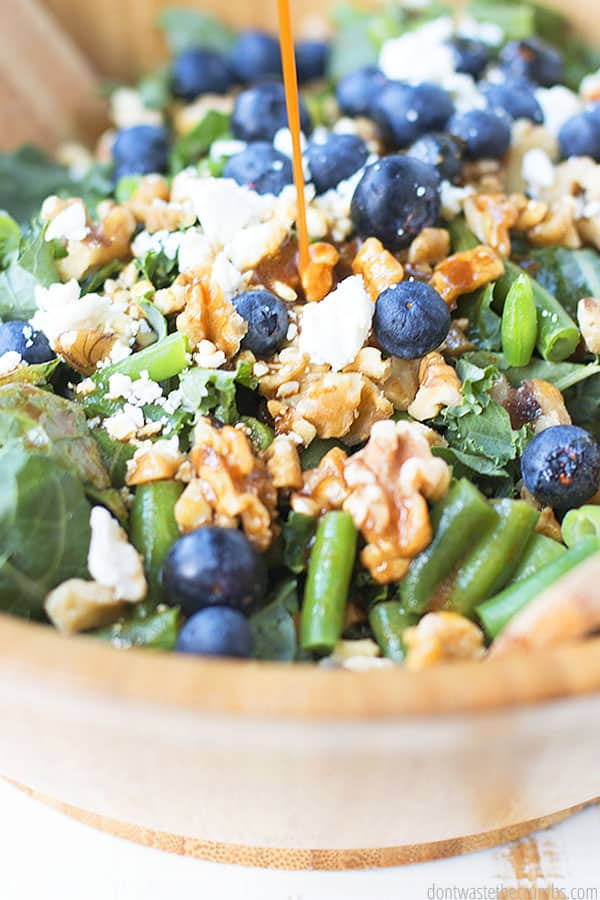 Are you a huge fan of blueberries? Try this kale salad with blueberries, walnuts, and feta! It is great for using fresh blueberries and has the perfect blend of sweet and savory.