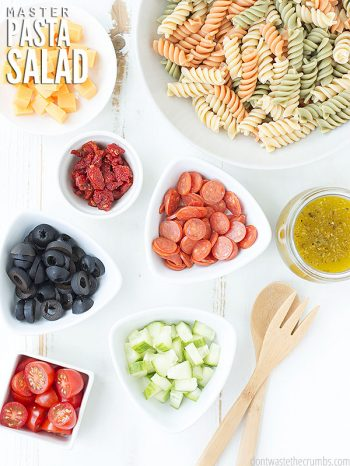 Here is a simple tutorial for building an easy & versatile Master Pasta Salad Recipe from scratch. Enjoy the gluten free, vegetarian and dairy-free options! Try our Greek Pasta Salad, Cobb Pasta Salad, Italian Pasta Salad, and our Skillet Pizza Veggie Pasta.