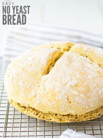 Learn how to make this easy homemade no yeast bread recipe. You only need 5 simple ingredients and the flour of your choice! :: DontWastetheCrumbs.com