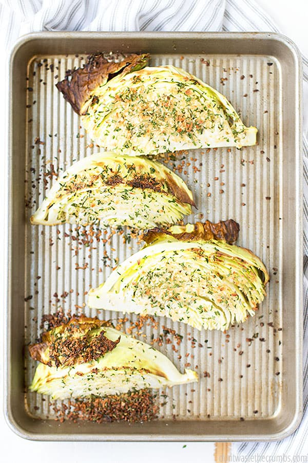 These baked cabbage wedges make for a perfect dinner side, and they're so versatile in seasoning. They're excellent with lemon garlic butter, or dry homemade ranch seasoning.