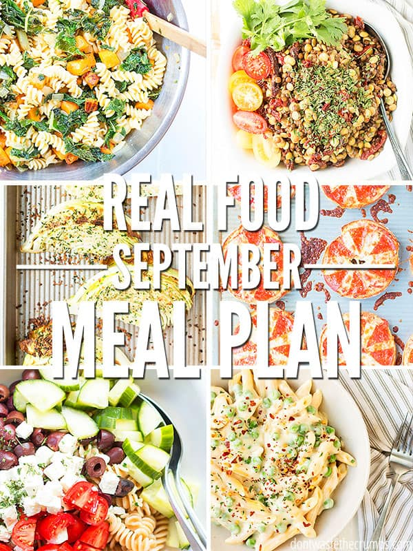 Make your September easy with this one month meal plan! Full of real food your family will love. Use as is or for inspiration to make your own meal plan!