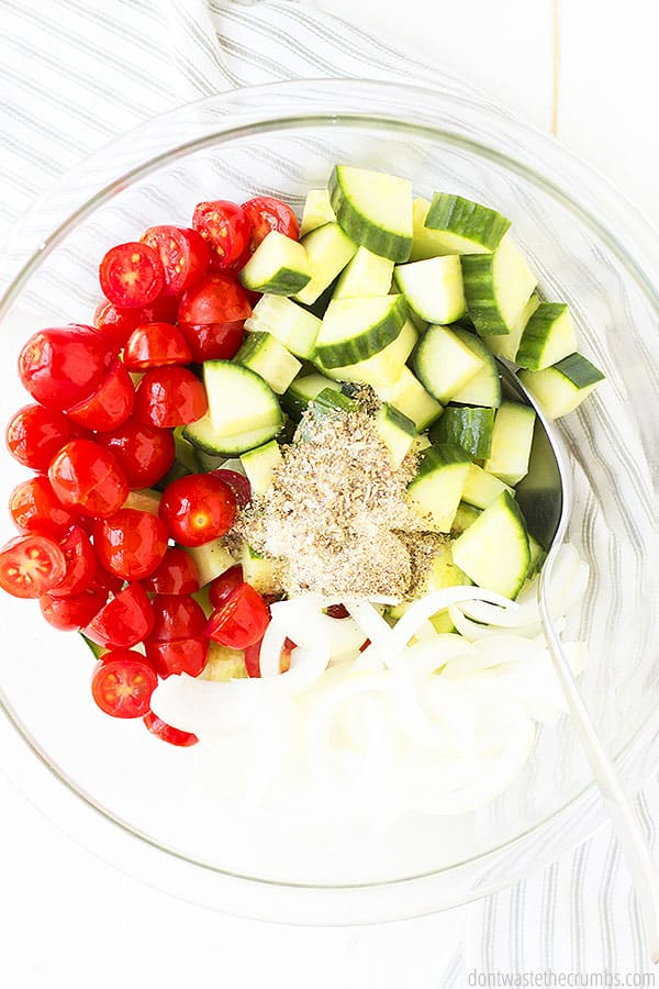This Greek salad does not have lettuce, but you can add it if you would like!