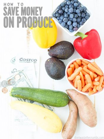 Learn how to save money on produce with this helpful guide. I share tips and tricks for meal planning, shopping for produce, and how to store produce. :: DontWastetheCrumbs.com