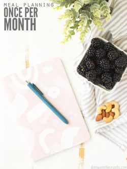 5 awesome tips for how to meal plan once a month! I share the method I use for monthly meal planning as well as other tips to make meal planning easy!