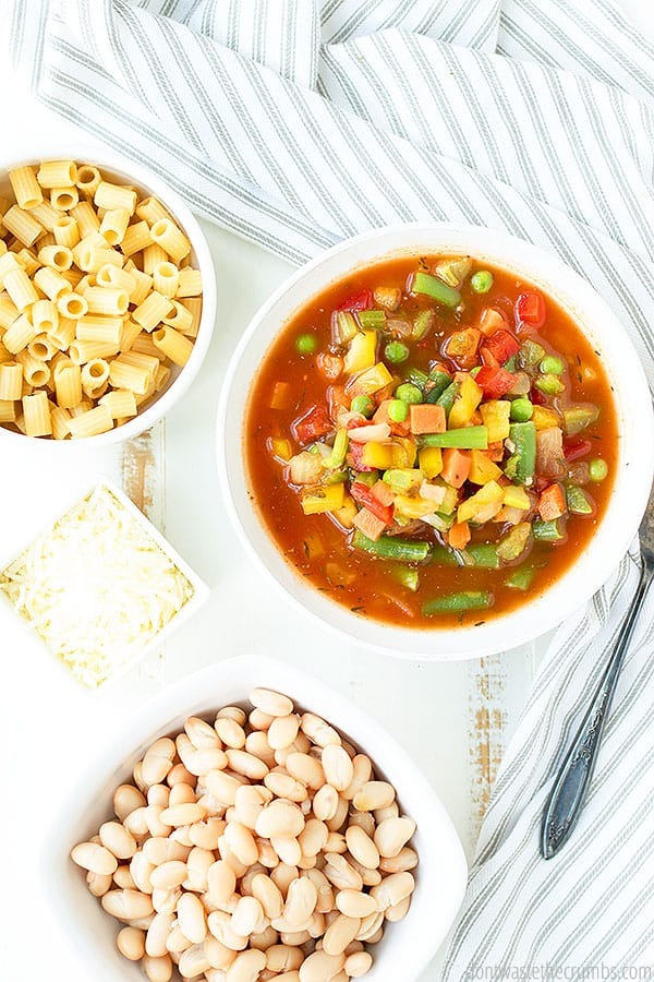 Use the in season vegetables of your choice for this minestrone soup recipe! From fresh green beans, to peas, corn, carrots and white beans, your options are endless. Add some leftover spaghetti sauce and a little curry seasoning, and you're good to go!