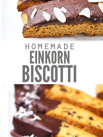 Homemade Einkorn Biscotti is naturally sweetened, healthy & SO easy! Enjoy 3 ways - triple chocolate, cranberry orange & vanilla bean! Perfect for breakfast with my Overnight Einkorn Coffee Cake and a hot Cinnamon Dolce Latte!