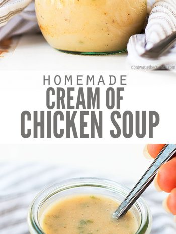 This homemade Cream of Chicken Soup is so quick, easy and versatile. Perfect for all of your recipes from casseroles, to soups, to stews and more! A much healthier option than store-bought canned condensed soup!