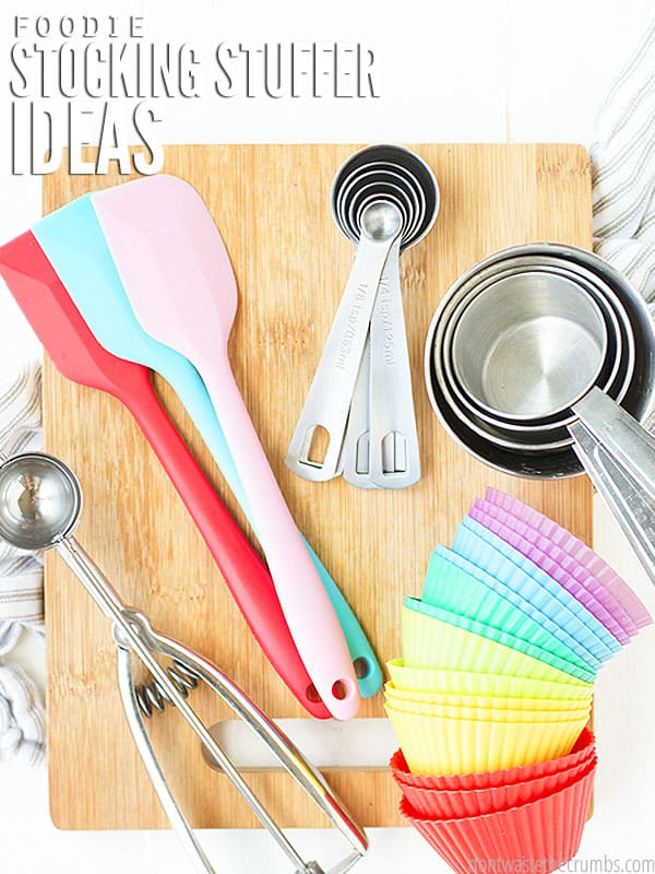Great Stocking Stuffer Ideas for the kitchen or home chef. Practical ideas for under $10 with cute ways to gift them & ideas for affordable bigger gifts too.