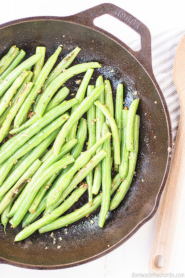 These fresh and savory melt in your mouth green beans can be made with fresh minced garlic or pre-minced garlic from a jar in order to save on prep time.