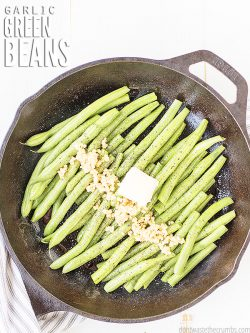 This recipe for Sautéed Green Beans is so buttery and flavorful with fresh garlic. Super easy to make & it comes out perfectly crisp-tender every time!