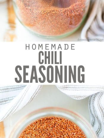 This recipe for Homemade Chili Seasoning is the best and most frugal way to spice up your pot of chili! Naturally gluten and preservative free. Versatile for every type of chili and even roasted potatoes & roasted broccoli too!
