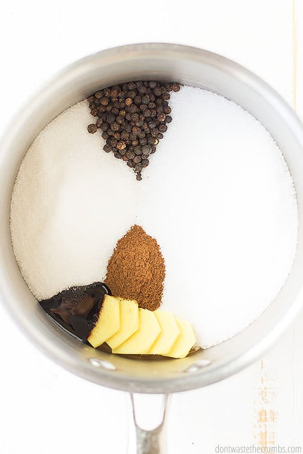 To make a perfectly flavorful brine for your turkey, you'll need a few simple ingredients: Kosher salt, vegetable scraps, whole black peppercorns, ground clove, ginger and water. That's it!