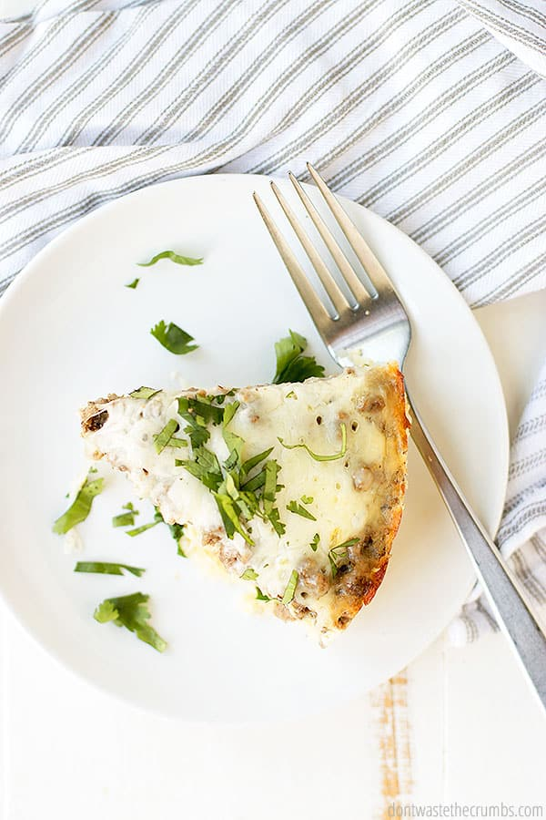 When dishing out this delightful casserole you can cut it into triangle serving size slices and eat with any of your desired condiments. Add another breakfast side dish from Don't Waste the Crumbs to round off your morning meal.