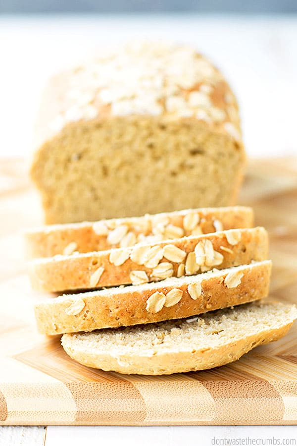 Have you ever made oat flour? It is so easy to do, and it is one of the healthy ingredients in this simple oatmeal bread!
