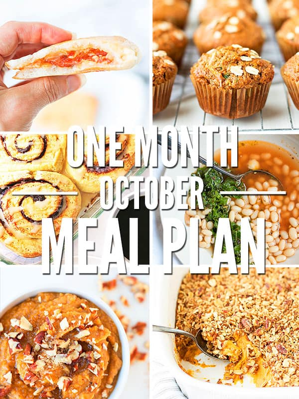 Here's your Healthy Fall Meal Plan for October! Feed your family real food on a budget AND eat seasonal produce with this complete four week meal plan.