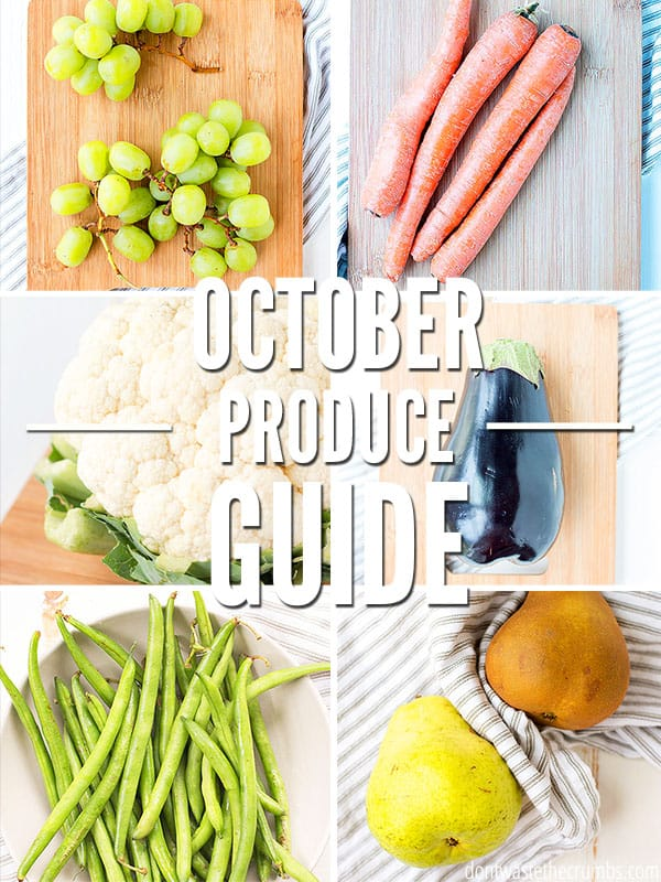 Fall produce in season in October is here! Use this guide to save money, buy nutrient filled foods, and find the best tasting veggies of the season. Use with your Healthy Fall Meal Plan for October!