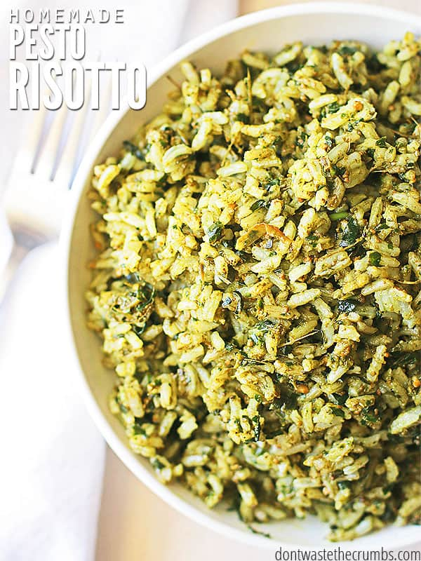 Easy & delicious risotto recipe for pesto risotto. Plus a recipe for fresh homemade pesto! This amazing dish takes just minutes to make and tastes gourmet. :: DontWastetheCrumbs.com