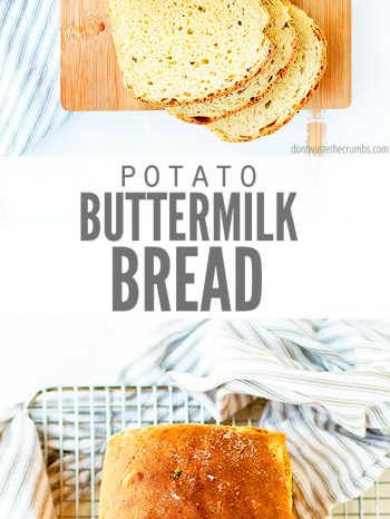 This Potato Buttermilk Bread recipe is a great way to use leftover mashed potatoes! So flavorful & moist and perfect for sandwiches or toast. Serve for dinner with whole roasted chicken and steamed vegetables!