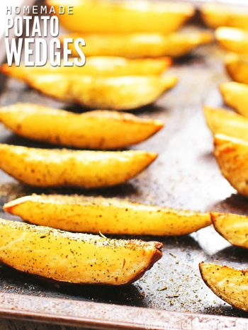 These are the best Roasted Potato Wedges you'll ever taste! A super easy, frugal and healthy recipe that comes perfectly roasted and crispy every time!