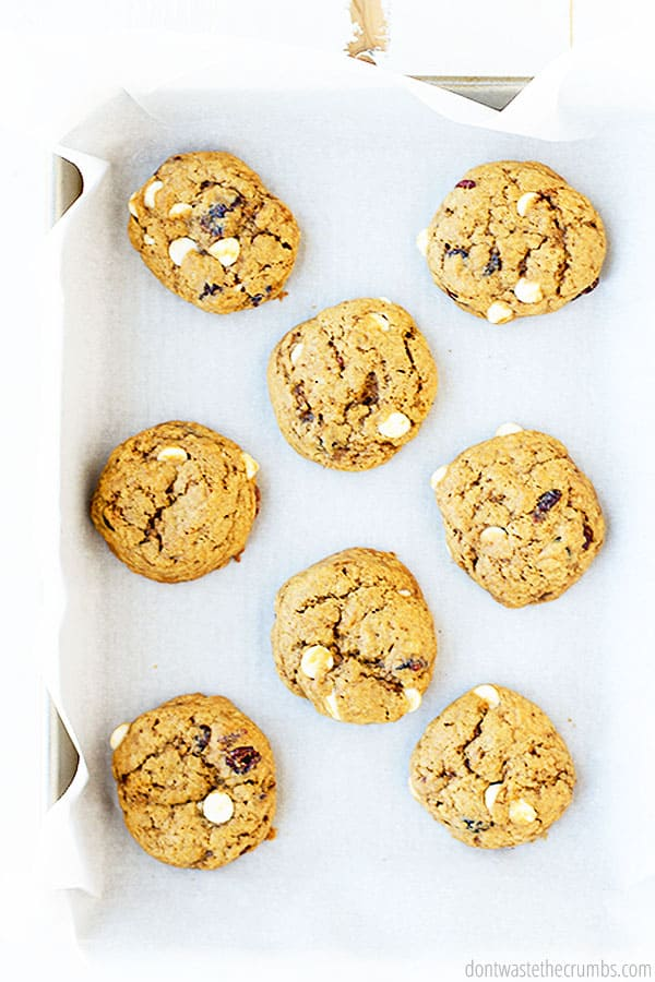8 of my delightful Cranberry White Chocolate Chip Cookies seen from a birds eye view as where they are on top of a baking sheet and piece of parchment paper.
