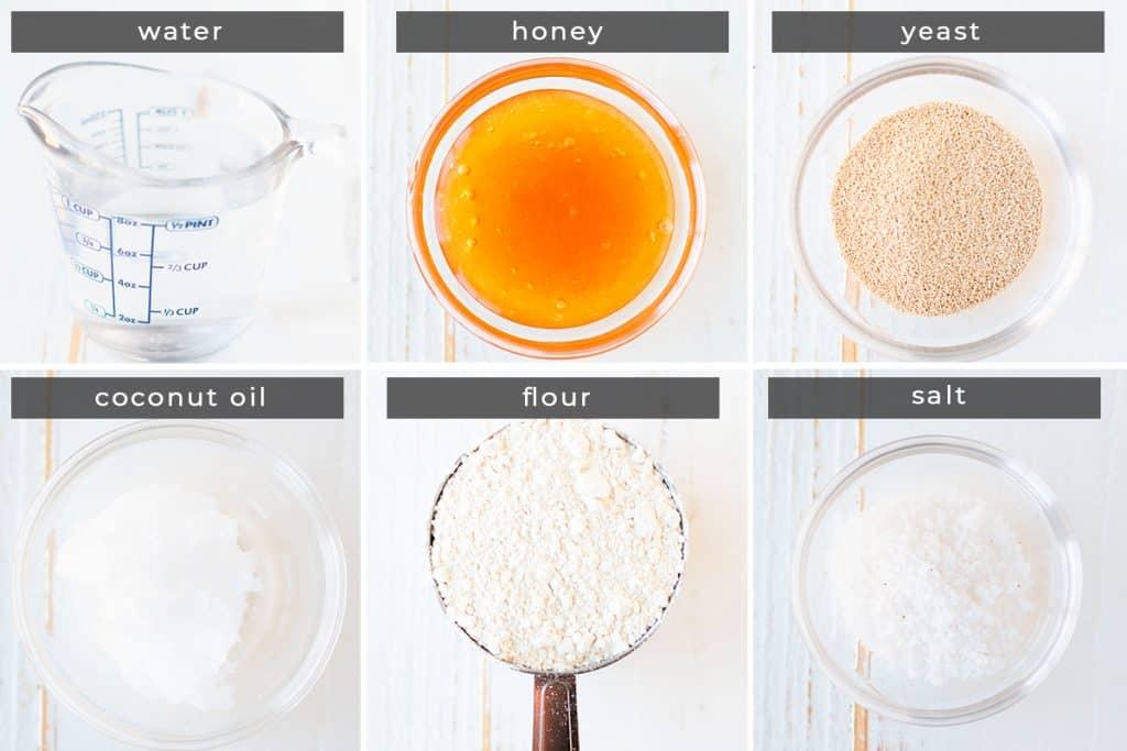 Image containing recipe ingredients water, honey, yeast, coconut oil, flour, salt.