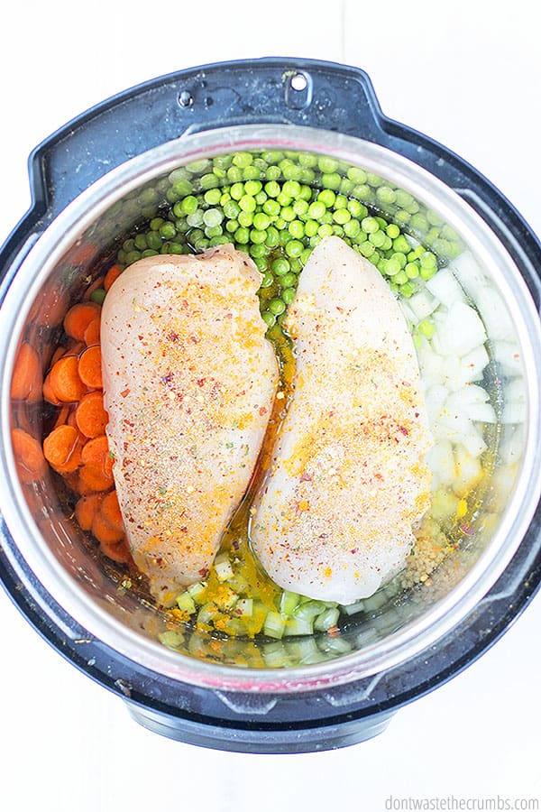 A birds eye view of many vegetables and two seasoned chicken breast in an Instant Pot.