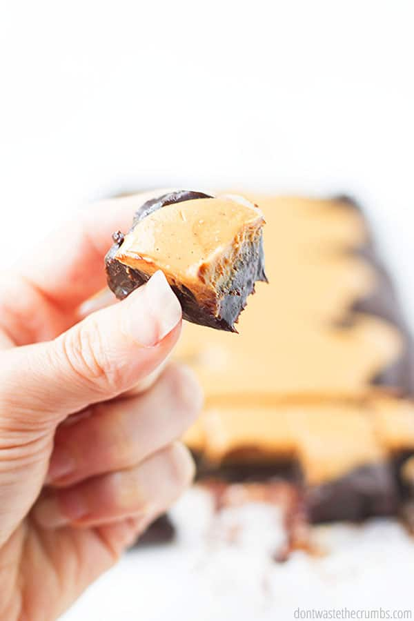 A hand holding a small square of fudge with the rectangle of fudge in the background on top of a white counter.