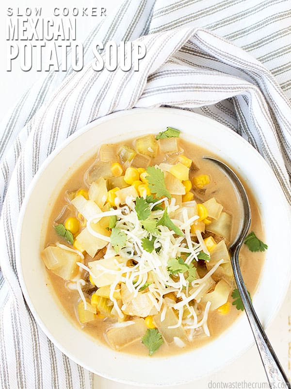 This Slow Cooker Mexican Potato Soup is a delicious, filling and frugal meal that is naturally gluten-free with a dairy-free option. It can be topped with guacamole or served with spinach and chicken enchiladas.