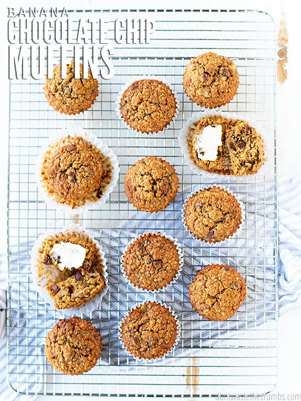 These delicious chocolate chip banana muffins are easy and homemade. Perfect when served warm with a pat of butter.