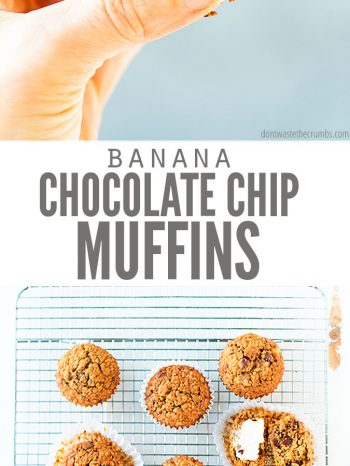Yummy banana chocolate chip muffins. Healthy gluten free recipe.