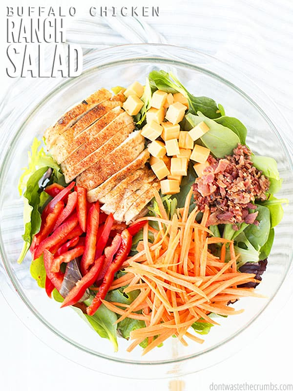 My all-time favorite, Buffalo Chicken Salad, has 6 different veggies + healthy protein. It's quick & easy, versatile, and so delicious! Even the kids love it! Serve with my easy dinner rolls, or my no knead overnight artisan bread.