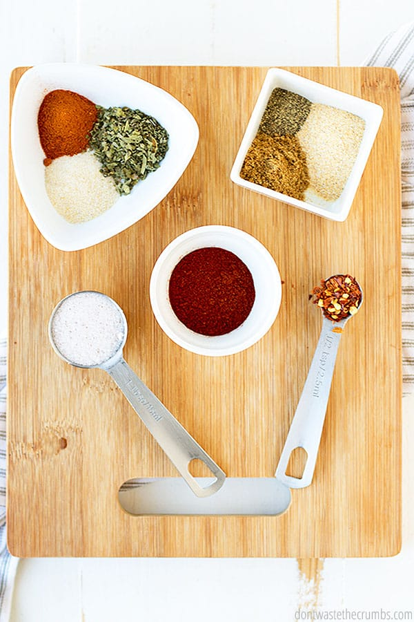 All of the beautiful herbs and spices that make up the wonderful Cajun flavor of this homemade dressing!