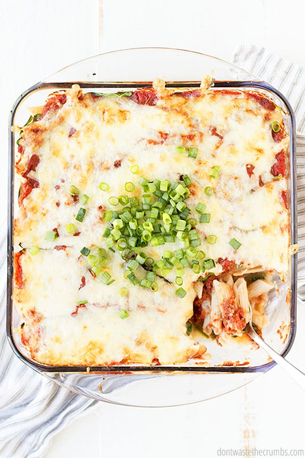 Healthy and veggie packed easy baked ziti is frugal and scrumptious. You'll be eager for a second serving!