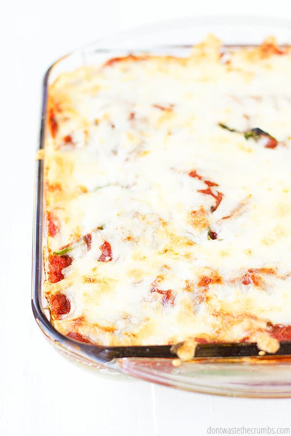 This easy baked ziti is loaded with veggies and cheese. This delicious meal is also budget friendly!