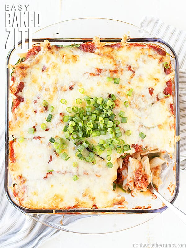This Baked Ziti Recipe is a healthy classic comfort food with 9 different veggies, can be made ahead of time, and is deliciously frugal! Pairs perfectly with a kale caesar salad and avocado chocolate mousse for dessert!