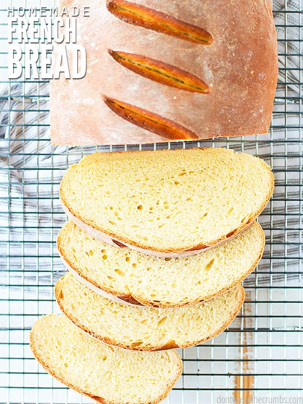 The cover image of French Bread with a beautiful loaf with four slices of bread on a cooling rack.
