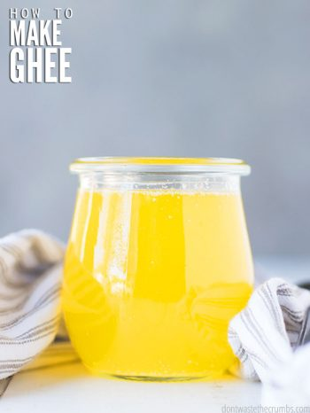Follow this easy tutorial on how to make ghee! A great way to use butter for cooking at high temperatures, or for those with dairy allergies. Spread on a slice of homemade no knead artisan bread.