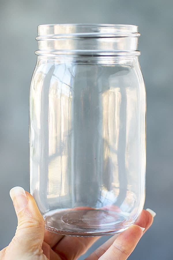 A single mason style jar in a well manicured hand. It is clean of any label residue and ready to be used for any variety of storage or crafts.