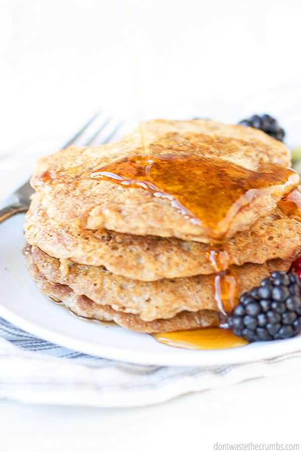 These oatmeal pancakes are so versatile that they can be made gluten free, dairy free and even vegan! Use homemade coconut milk and coconut oil instead of milk and butter. Yum!