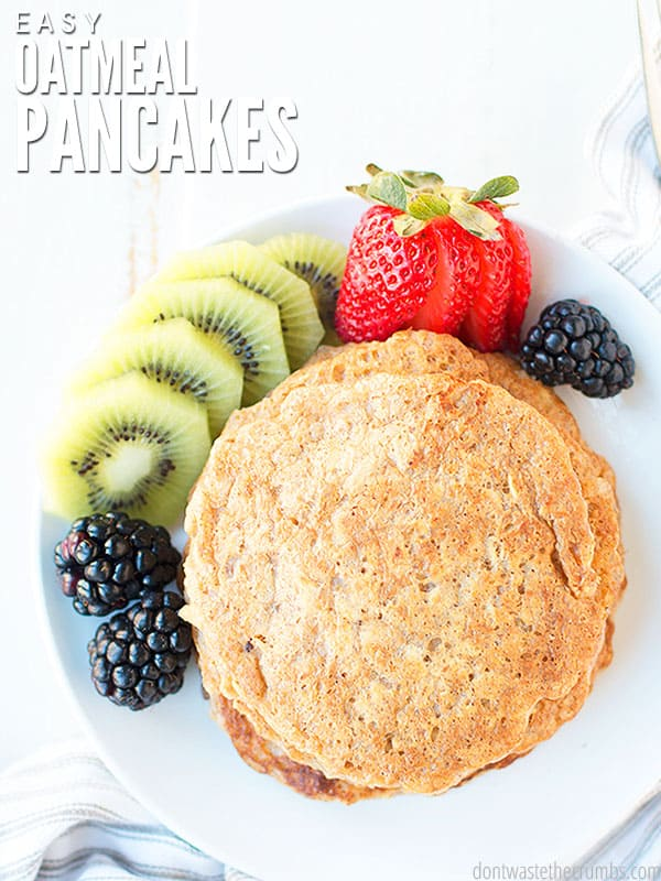 These healthy and soft oatmeal pancakes are easy to make. Paired with some fresh fruit on the side, blackberries, kiwi, and strawberries.