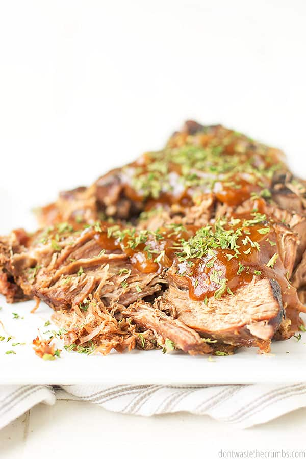 This slow cooker brisket is so easy and simple! It is ready for tasting and has herbs sprinkled for a savory touch!