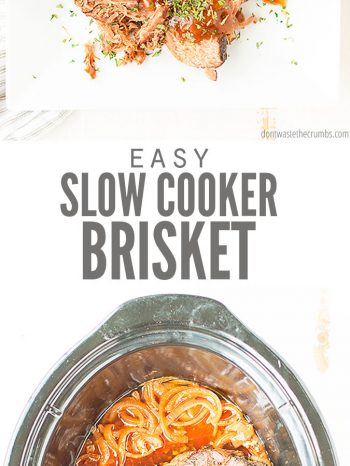 This easy Slow Cooker Brisket comes out so tender and juicy. Hands-free recipe, simmers in tangy homemade BBQ sauce and can even be doubled or tripled! Perfect for batch cooking, or serving a group!