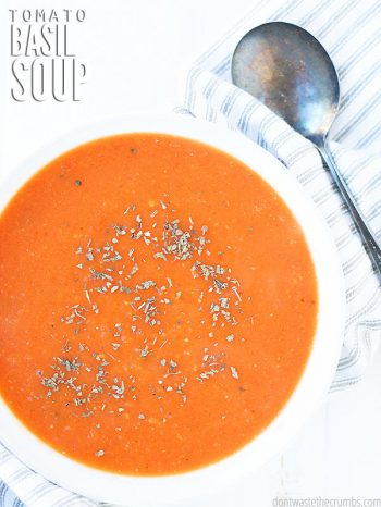 This easy and creamy homemade tomato basil soup is a winter soup must!
