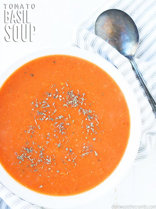 This creamy easy and healthy tomato basil soup is sure to be a family staple. Sprinkle some pepper to taste.